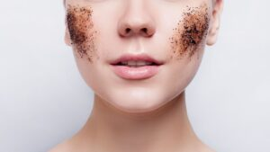 woman with rash and bad skin on her face