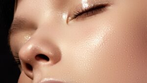 close up photo on a woman's smooth facial skin